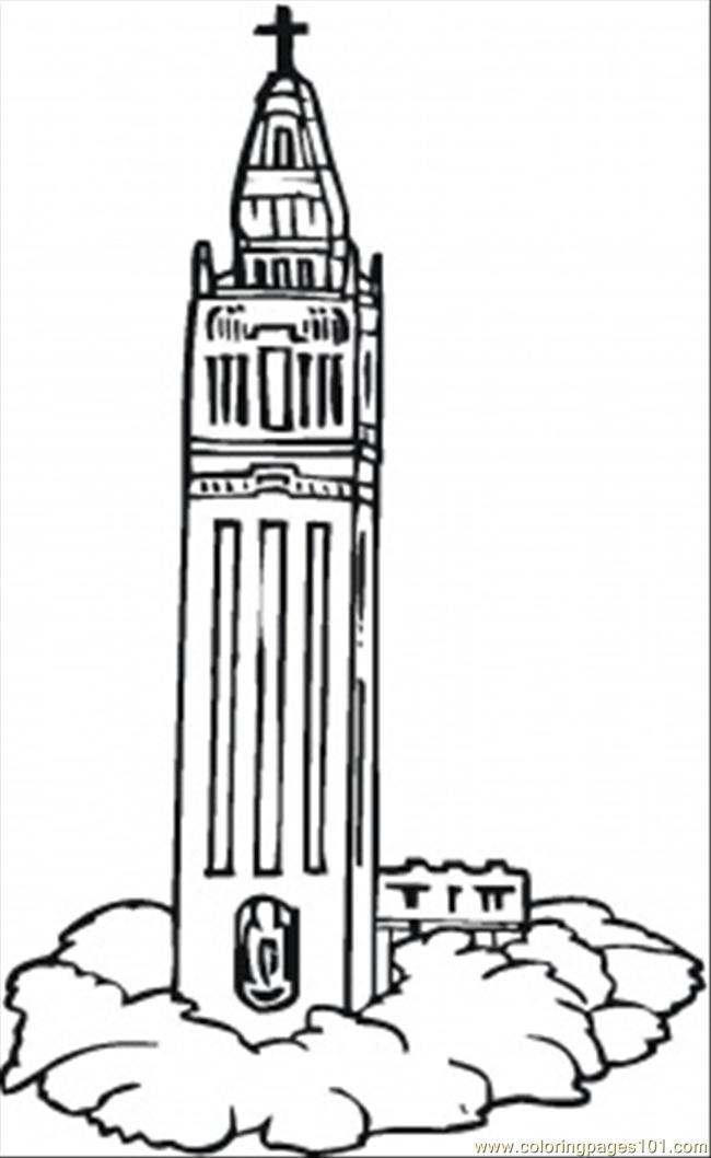 Clock Tower Coloring Page Buildings Pages