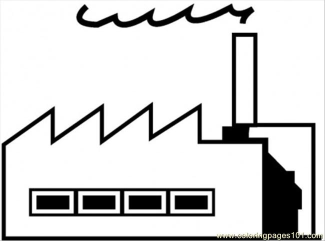 Factory Coloring Page Free Buildings