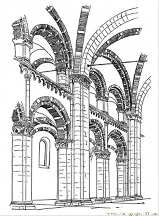 Inside Of The Cathedral Coloring Page