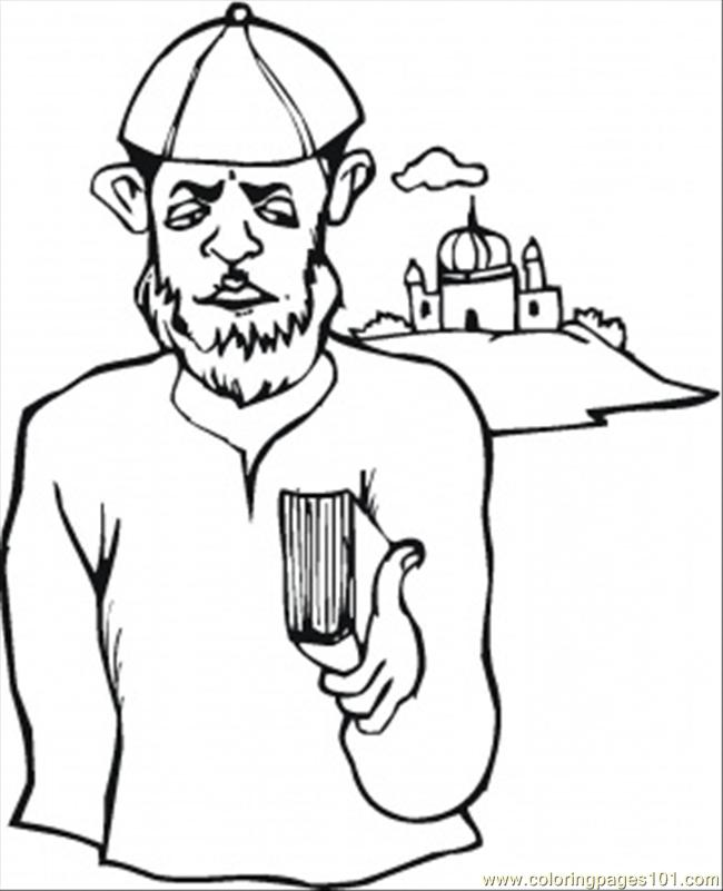 Jewish Man Near Synagogue Coloring Page