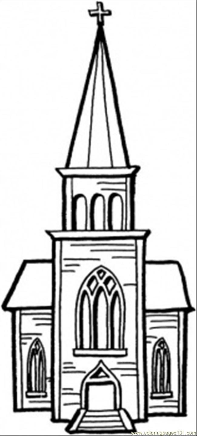 Church building coloring pages
