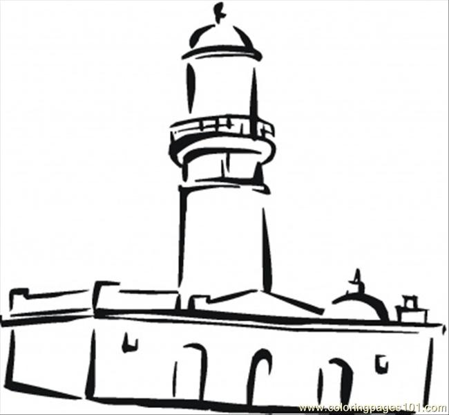 Mosque In The Town Coloring Page
