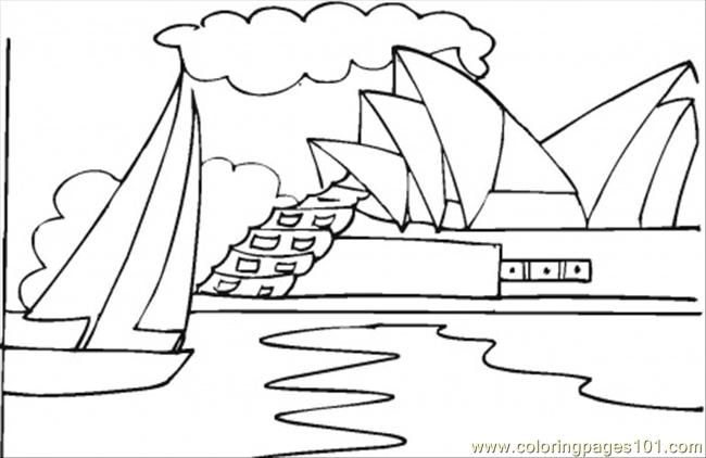 Opera House Near The Ocean Coloring Page