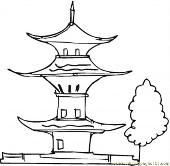 Pagoda And A Tree Coloring Page
