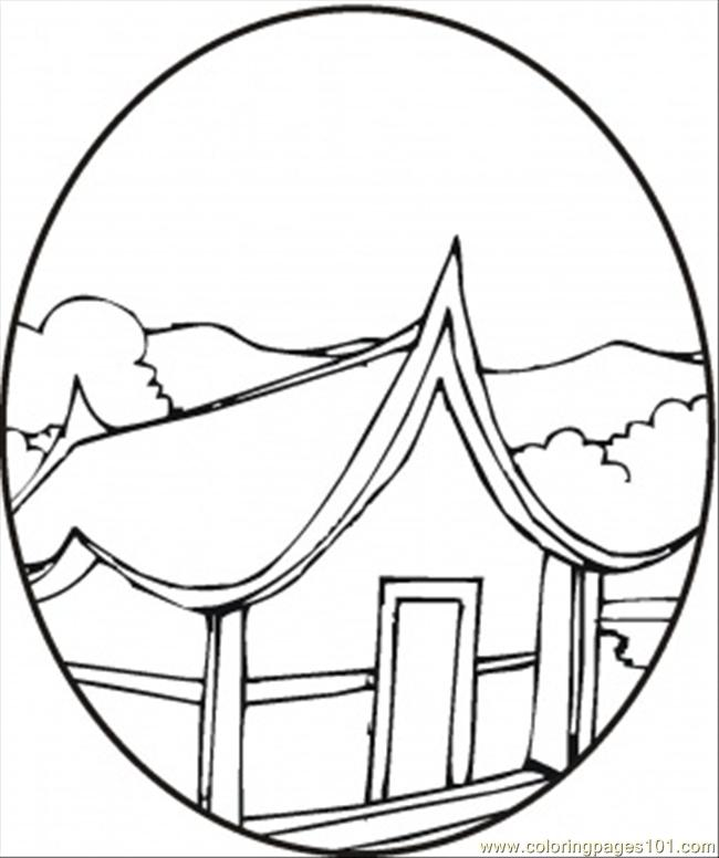 Pagoda In The Spring Coloring Page
