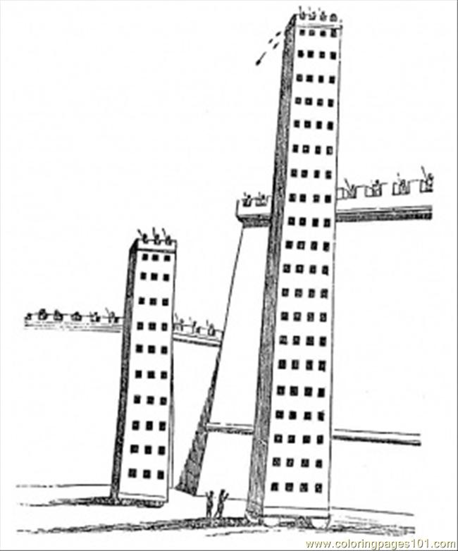Three Big Towers Coloring Page