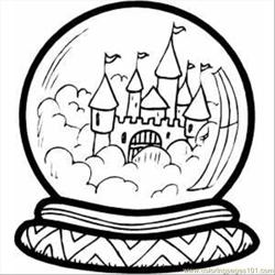 Castle In Crystal Ball Free Coloring Page for Kids