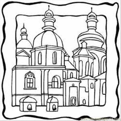 Christian Buildings Free Coloring Page for Kids