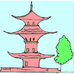Pagoda And A Tree Free Coloring Page for Kids