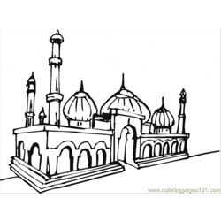 Beautiful Mosque Free Coloring Page for Kids