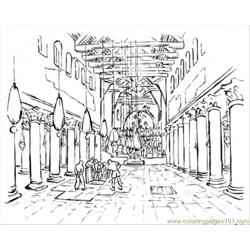 Building Of Basilica Free Coloring Page for Kids
