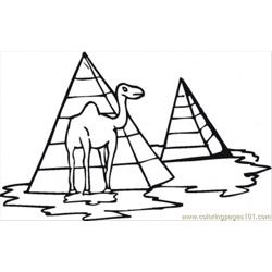 Camel And Pyramid Free Coloring Page for Kids