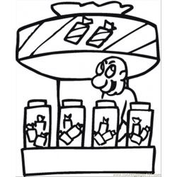 Candy Kiosk Free Coloring Page for Kids