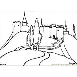 Castle On High Mountain Free Coloring Page for Kids