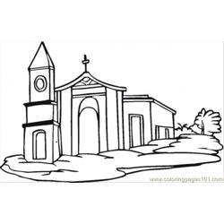 Church Free Coloring Page for Kids