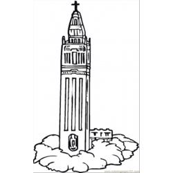 Clock Tower Free Coloring Page for Kids