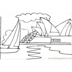 Opera House Near The Ocean Free Coloring Page for Kids