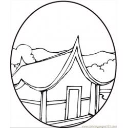 Pagoda In The Spring Free Coloring Page for Kids