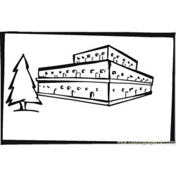 Warehouse Near Pine Tree Free Coloring Page for Kids