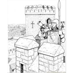 Warrior In The Castle Free Coloring Page for Kids