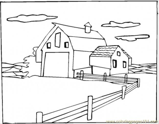 Warehouse In The Village Coloring Page