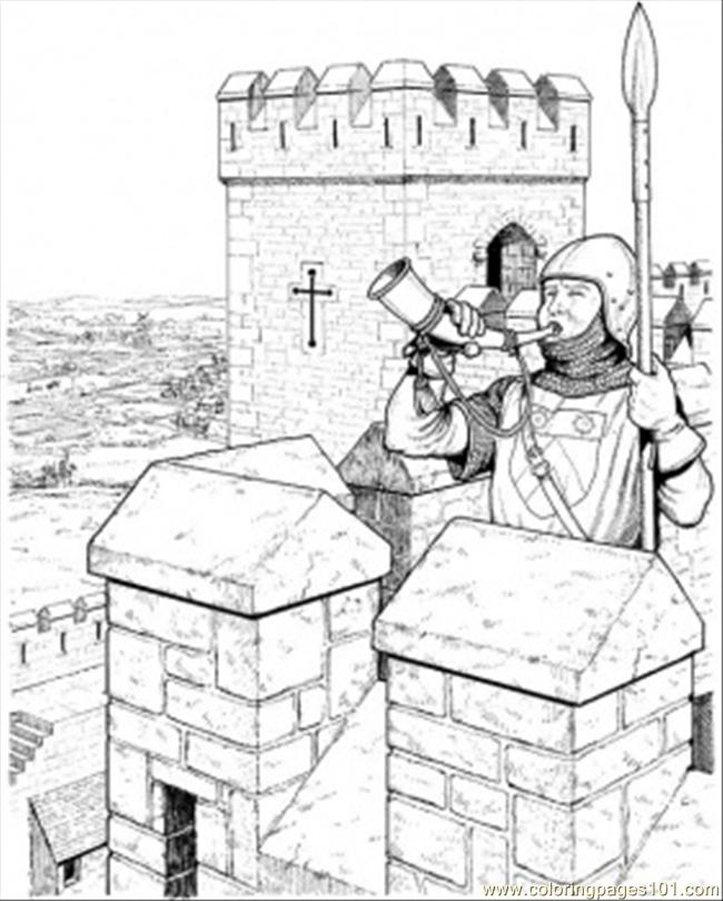 Warrior In The Castle Coloring Page