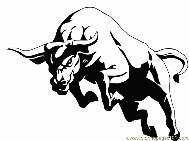 Bull2 Vectorized Coloring Page - Free Bull Coloring Pages ...