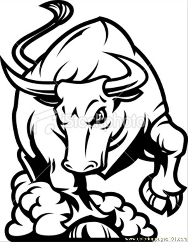 Colour Line Art Design : Bull charging b amp w coloring page free