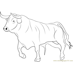 Bull Ready for Fighting Free Coloring Page for Kids