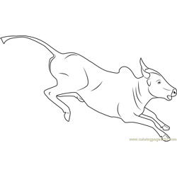 Bull Running Free Coloring Page for Kids