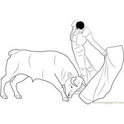 Spain Madrid Bullfight Free Coloring Page for Kids