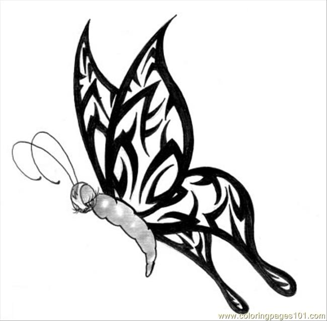 Butterfly Tattoo Design5 Coloring Page