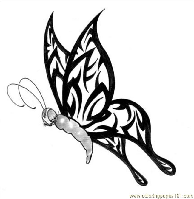 Tribal Butterfly Coloring Page