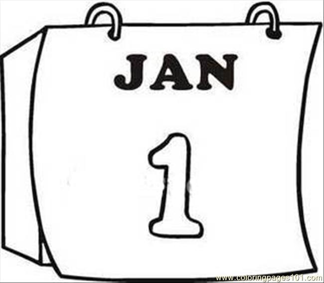 Calendar Page Clipart Image Coloring Page