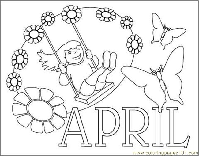 April Clr Coloring Page - Free Calendar Coloring Pages ...