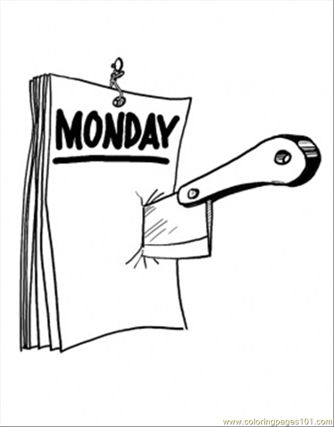 Monday On The Calendar Coloring Page