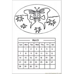 Butterfly Calendar coloring page