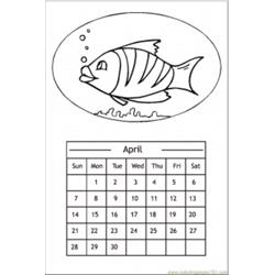 Calendar With A Fish coloring page
