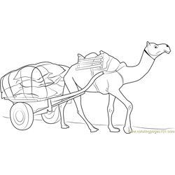 Working Camel Free Coloring Page for Kids