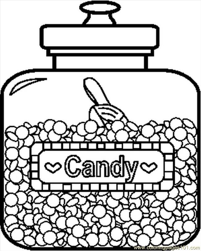candyjar1bw coloring page - Candy Coloring Pages