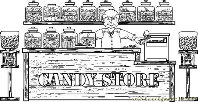 candystore1bw coloring page free candy coloring pages
