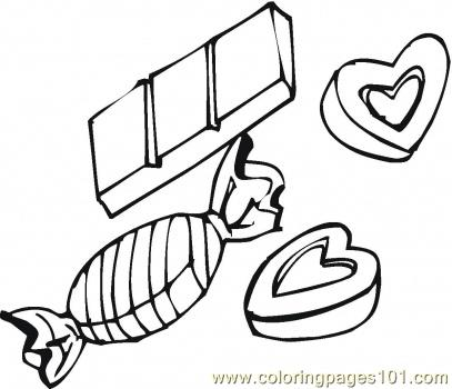 Chocolate candies and hearts Coloring Page