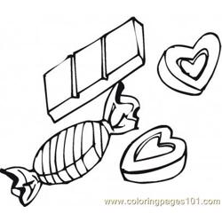 Chocolate candies and hearts Free Coloring Page for Kids
