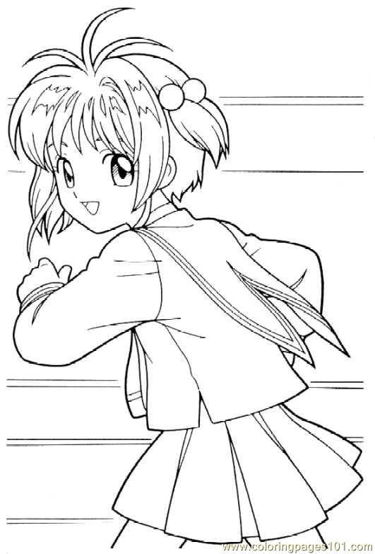 cardcaptors sakura 1 4 coloring page - Cardcaptor Sakura Coloring Pages