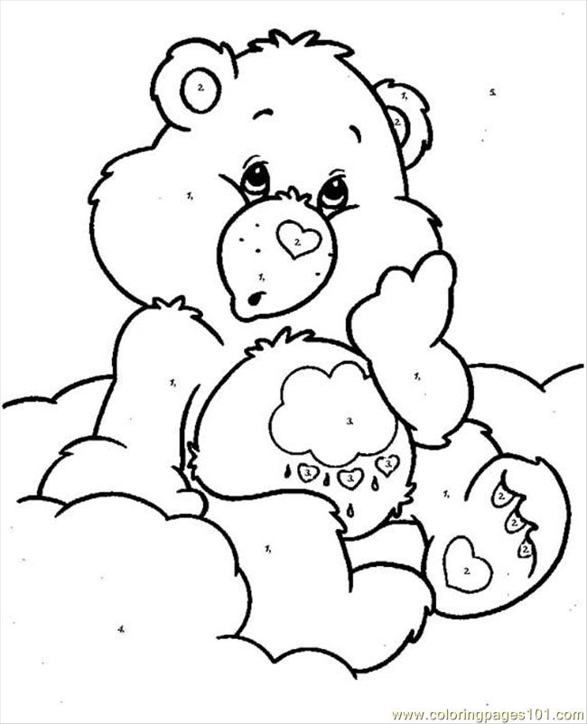 Bearcareby Numbers Coloring Page Free Care Bears Coloring Pages
