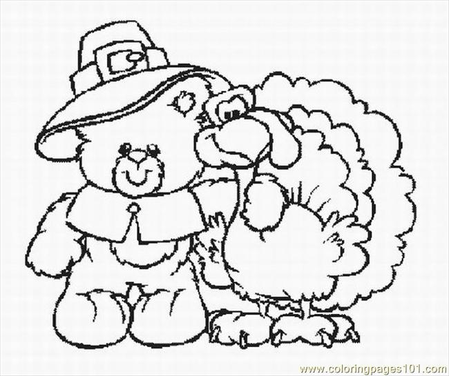 Bear With Turkey Lrg Coloring Page