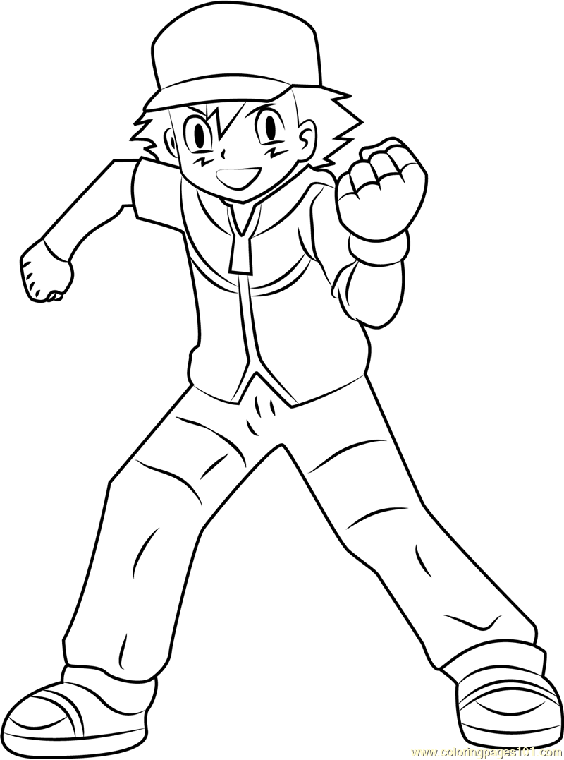 Beautiful Ash Ketchum Pokemon Character Coloring Page