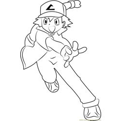 Ash Anime Free Coloring Page for Kids