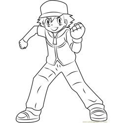Ash Ketchum Pokemon Character Free Coloring Page for Kids