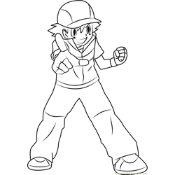 Ash Ketchum by Brigz Free Coloring Page for Kids